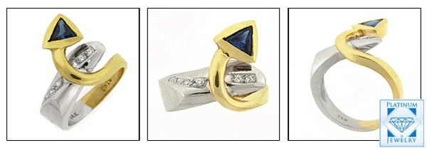 Two-toned gold cubic zirconia sapphire ring 3 views