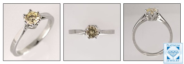 Simple 0.50 Round Champaign CZ  Solitaire Ring/ 14k White gold