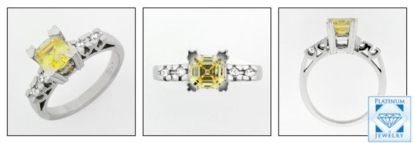 1 CT CANARY ASSHER CUT CUBIC IN PLATINUM SETTING
