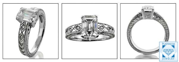 Emerald cut cubic zirconia antique design ring