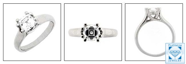 1 Ct. CZ  Asscher Cut  Platinum Solitaitre Ring