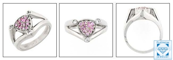 Tube SHANK RING WITH Pink CUBIC ZIRCONIAS