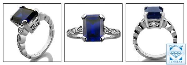SAPPHIRE BLUE 4 CARAT CZ PLATINUM ANNIVERSARY RING