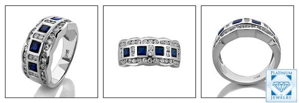 BLUE SAPPHIRE CZ ANNIVERSARY RING