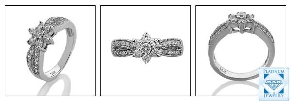 Cubic zirconia platinum ring