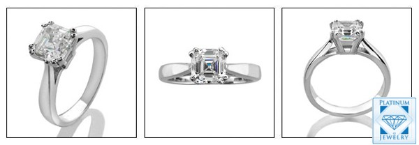 1.25 Royal Asscher Diamond quality CZ Platinum Solitaire Ring