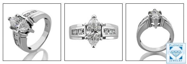 Platinum ring with 2.0 carat Marquise Cubic Zirconia