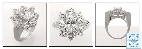 Best Quality OVAL cubic zirconia platinum ring