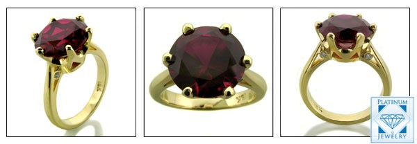4 CARAT ROUND RUBY CZ SOLITAIRE 18K RING