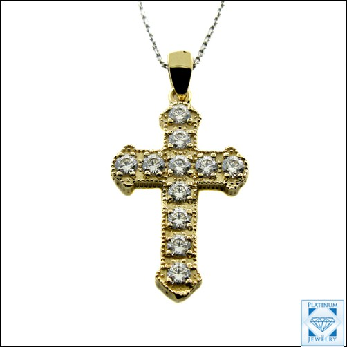 1 iNCH YELLOW GOLD CROSS SET WITH CZ