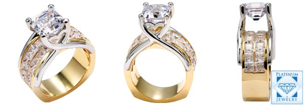 2.5 CARAT CZ TWO TONE ANNIVERSARY RING