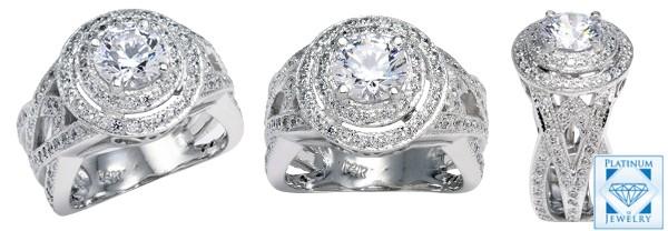 1.25 cz platinum ring