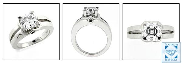 Asscher cut 1.5 carat cubic zirconia ring in 14k white gold