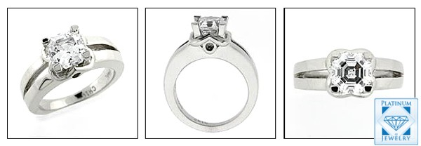 Asscher cut cubic zirconia in Platinum