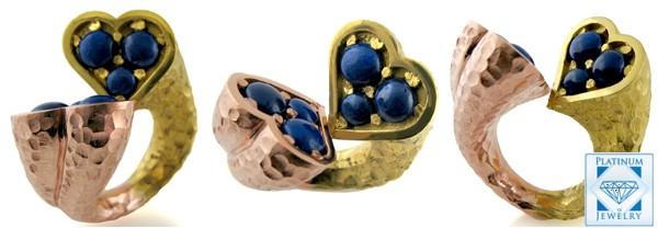 2tone Lapis Designer Ring | 2 tone Lapis Designer Ring