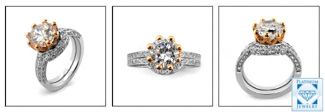 2 25 Carat Round Aaa High Quality Cubic Zirconia Engagement Ring Set In 14k White Gold And Rose Gold