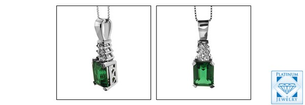 3.0 Carat Emerald cut Emerald color AAA High Quality Cubic Zirconia Pendant