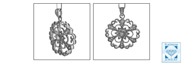 Antique style platinum pendant set with AAA high Quality round CZ in pave and bezel setting