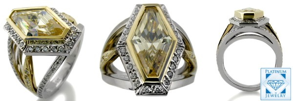 CZ CENTER TWO TONE PAVE SET GOLD RING