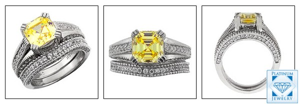 2.5 CT. CANARY ASSCHER CZ ENGAGEMENT RING SET IN PLATINUM AND PAVE
