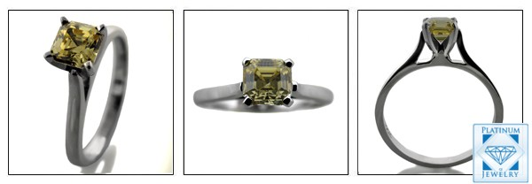 PLATINUM SOLITAIRE CANARY CZ SOLITAIRE RING