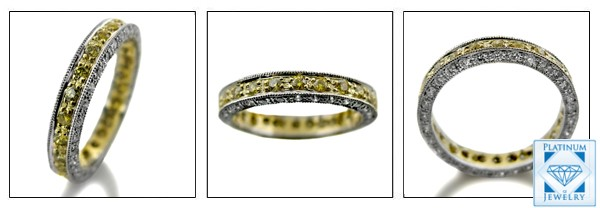 CANARY CZ ETERNITY TWO TONE PLATINUM AND GOLD BAND