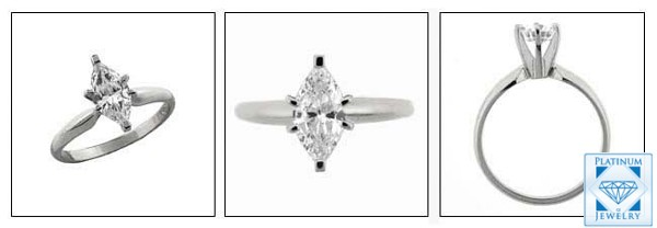 Classy 1.5 Carat Marquise cz Solitaire Tiffany style Ring set in Platinum Shank