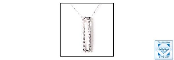 Elegant cubic zirconia rectangular pendant in 14k white gold
