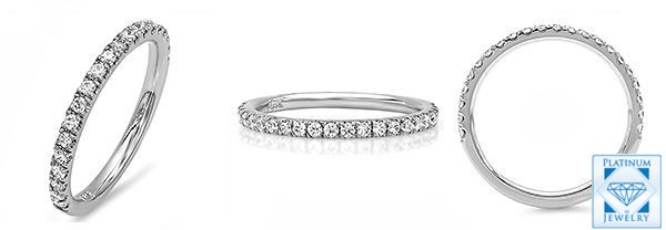 Platinum CZ narrow wedding band