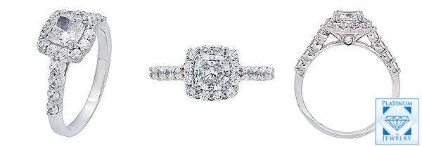 Finest cz cushion cut solid platinum ring