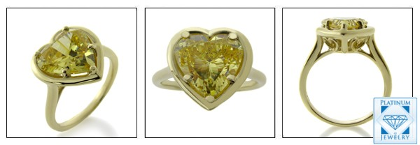 Yellow gold Solitaire Cz Ring