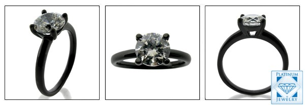 Cubic Zirconia Black Rhodium gold ring