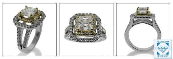1 carat cz princess platinum ring