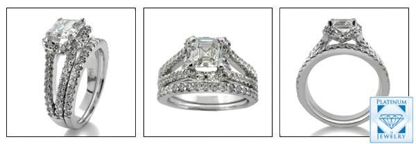 AAA high Quality 1.5 Carat Asscher Cut Cubic Zirconia Ring