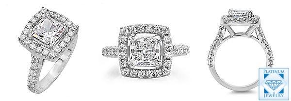 Princess CZ Platinum Ring