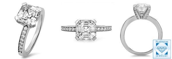 Asscher cz platinum engagement ring
