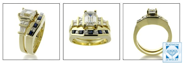 EMERALD CUBIC YELLOW GOLD RING SET