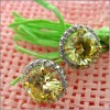 FANCY CANARY ROUND STUD EARRINGS