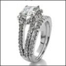 14k White Gold Cubic Zirconia Matching Engagement Set