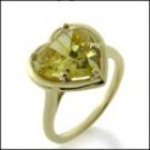 Canary Cubic zirconia Heart Ring