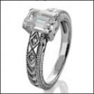 Emerald cut cz ring in white gold setting