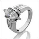 Platinum ring with 2.0 carat Marquise CZ