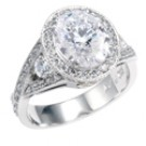 CUBIC ZIRCONIA OVAL CENTER HALO ANNIVERSARY 14K WHITE GOLD RING