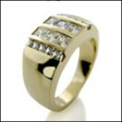 CHANNEL CZ PRINCESS YELLOW GOLD MENS RING