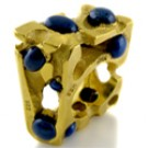 22K YELLOW GOLD LAPIS CHIC RING