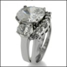 3 carat oval cz platinum ring set